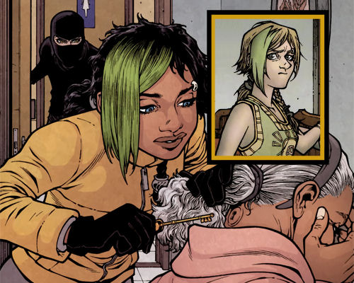 Kinsey, normally a blonde and blue-eyed girl (inset), has used the Skin Key to transform herself into a Black girl in this panel.