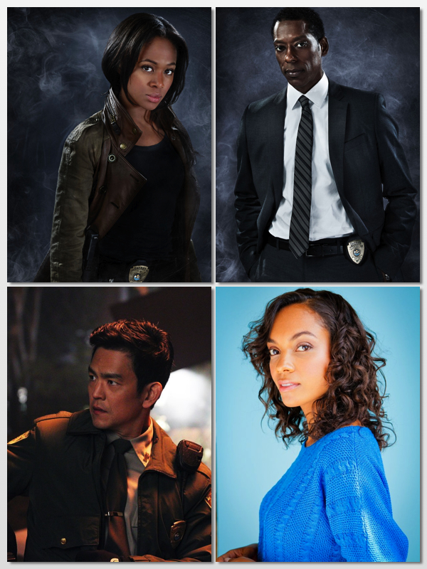 Clockwise from top left: Nicole Beharie as Sheriff Abbie Mills; Orlando Jones as Capt. Frank Irving; Lyndie Greenwood as Jenny Mills; and John Cho as Andy Dunn.