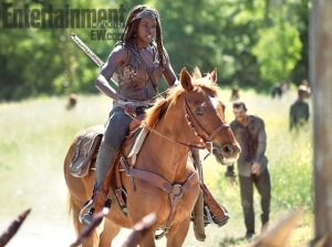 Michonne does not hold babies while others fight, damn it!