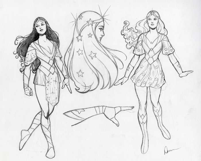 "Doran was asked to provide concept sketches for a ""high-fantasy"" take on Diana."