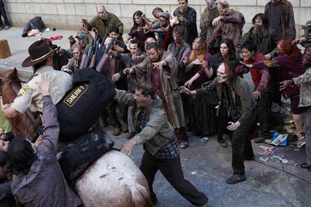 Finding the one Black face in this zombie hoarde is like an undead game of Where's Waldo.