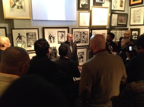 Co-curator Michael Davis addresses the assembled pop culture luminaries.