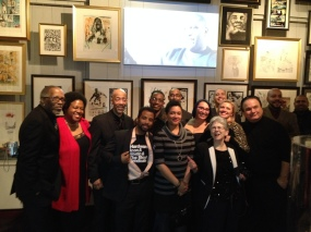 The show's artists and contributors with the Geppis.