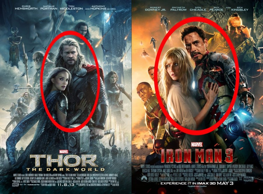 We're not getting different superhero movies. We're getting the same superhero movie over and over and over again. (Poster comparison from Business Insider).