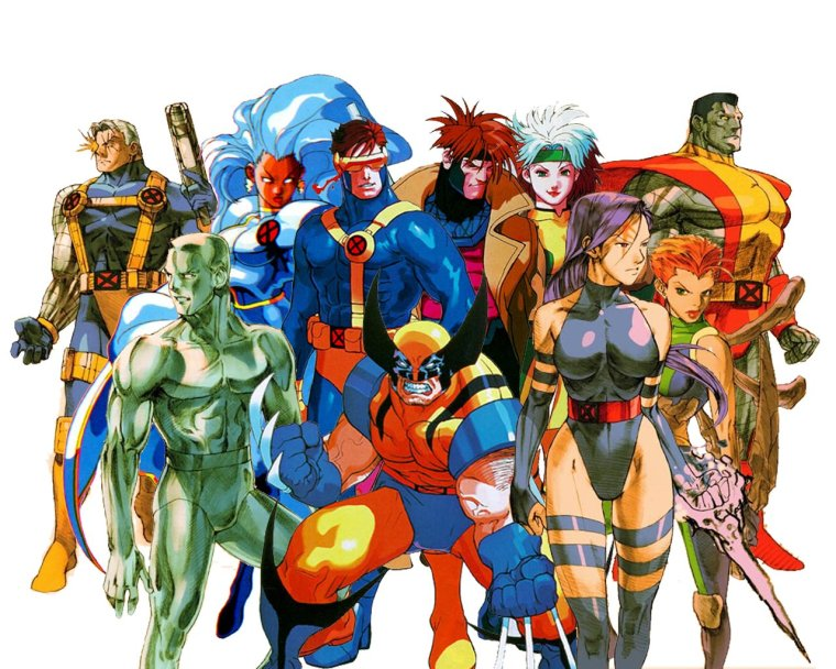 A group of mutant superheroes called the X-men standing together.