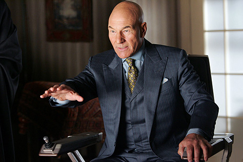 Photo of Professor X from the X-Men, played by Patrick Stewart, a man sitting in a wheelchair with his hand extended.
