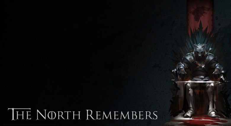"Image of a wolf-like creature in armor with a sword on its lap sitting on an iron throne. The text says, ""The North Remembers."""