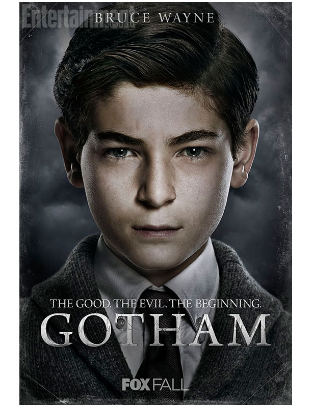 Image of a young white boy with brown hair. He's wearing a suit and tie looking serious. The text says: Bruce Wayne. The Good. The Evil. The Beginning. GOTHAM. Fox Fall