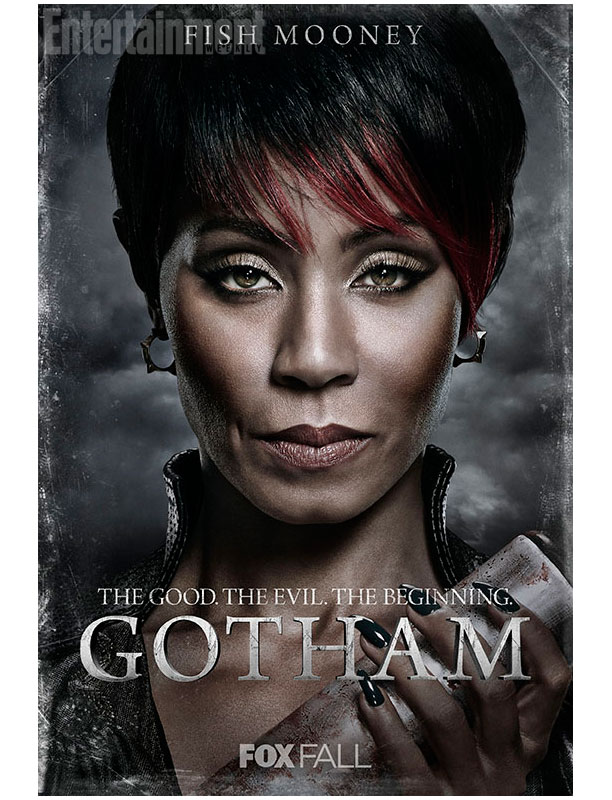 Image of an African-American woman with short hair holding a bloodied baseball bat. The text on the image says: Fish Mooney. The Good. The Evil. The Beginning. GOTHAM. Fox Fall