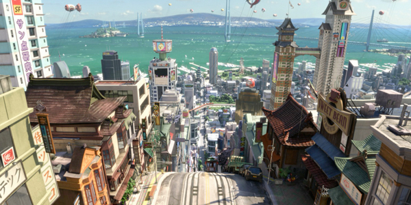 "BH6 is an experience. It rises above your typical SF/Super Hero film and is a genuine work of art. The action takes place in the San Francisco/Tokyo hybrid megapolis of San Fransokyo and it is stellar. It has just the right mix of San Francisco architecture and high-end Japanese robo-sheen to make the city feel lived in. I'm not sure how this will play outside of the San Francisco Bay Area (where we live) but the city made the both of us long for this amalgamation. ""Daddy? How can we live there?"""