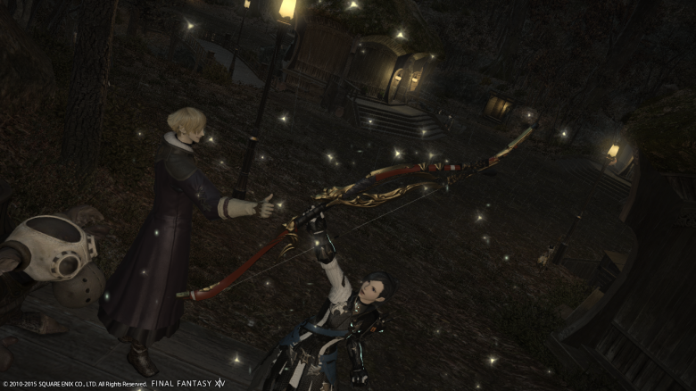 My latest accomplishment in my FFXIV career:  acquiring the legendary Yoichi Bow!)