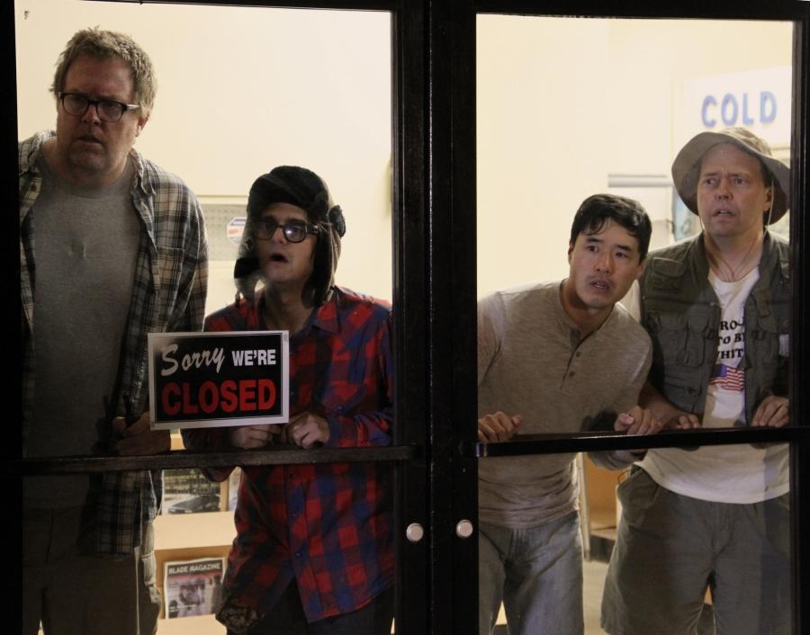 Amigo Undead - The gang watches Jovan (actor(s): Steve Agee, Josh Fadem, Randall Park, Mike McCafferty)