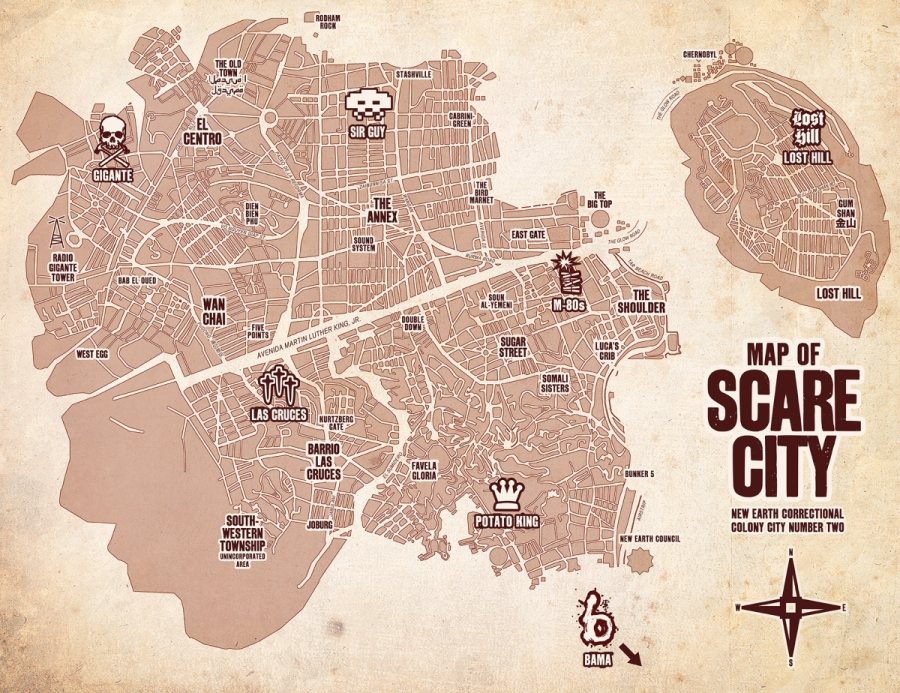 Scare City—the world of CP—is a distant and hostile planet. Think Tatooine crossed with Mad Max's wasteland, the summer depicted in Spike Lee's Do the Right Thing, and John Carpenter's Escape from New York, with a dash of São Paulo —and you almost get the picture.