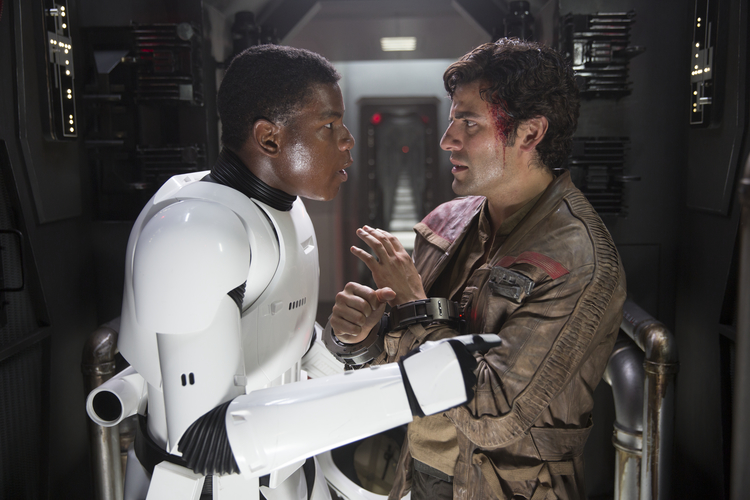 Finn and Poe Dameron in Star Wars: The Force Awakens