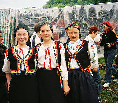 Pictured: A group of Romanian women in celebratory dress