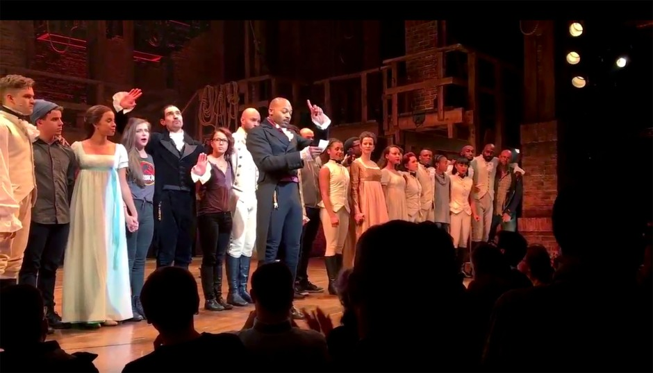 https://twitter.com/HamiltonMusical/status/799828567941120000 Screengrab from Hamilton's Twitter account of Brandon Dixon (and the rest of the cast) speaking out to Mike Pence after he attended the evening's show 11/19/16 Source: Hamilton/Twitter