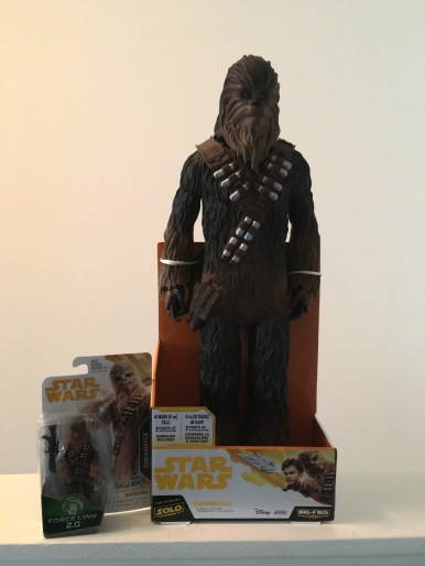 "3 3/4"" Chewbacca from Hasbro and a massive 20"" Chewie from Jakks Pacific"