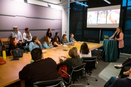 Tanja Krampfert (Character Technical Director) presents during long lead press day on April 3, 2019. Photo by Marc Flores. ©2019 Disney/Pixar. All Rights Reserved.
