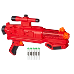 STAR WARS NERF SITH TROOPER BLASTER (HASBRO/Ages 6 years & up/Approx. Retail Price: $39.99/Available: Fall 2019) Imagine going into battle as one of the SITH TROOPERS with this STAR WARS NERF bolt-action blaster that fires glow-in-the-dark darts! The STAR WARS NERF SITH TROOPER BLASTER features GlowStrike technology that charges the darts to make them glow when fired. Load 5 darts into the barrel of this single-fire blaster, pull the bolt back to prime it, then pull the trigger to unleash a glowing dart and hear laser blast sound effects! Keep priming and pulling the trigger to unleash the remaining darts. Illuminate STAR WARS battles with the STAR WARS NERF SITH TROOPER BLASTER! Includes blaster, pack attachment, stock, and 5 Elite GlowStrike foam darts. Requires 3 AAA batteries, demo battery included. Available at most major retailers.