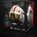 STAR WARS: THE BLACK SERIES LUKE SKYWALKER BATTLE SIMULATION ELECTRONIC HELMET (HASBRO/Age: Adult/Approx. Retail Price: $99.99/Available: Fall 2019) Featuring highly-detailed deco, movie-inspired design, interior padding, lights, and sound FX, this full-scale replica of LUKE SKYWALKER'S iconic helmet is a great addition to any fan's collection. Synchronized LED lights and 3 speakers create an immersive battle simulation experience, featuring energy blaster fire FX and communication from R2-D2. Flip the switch inside the helmet to choose between a simulation of piloting an X-Wing at the Battle of Yavin or a Snowspeeder at the Battle of Hoth. Requires 3 1.5V AAA batteries, not included. Available at most major retailers. Available for preorder at GameStop, Walmart, Target, Amazon, Entertainment Earth and Pulse.