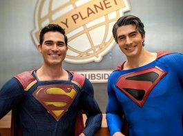 Tyler Hoechlin and Brandon Routh at the Daily Planet