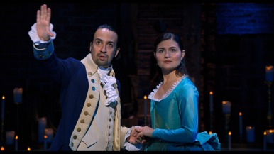 Lin-Manuel Miranda as Alexander Hamilton and Phillipa Soo as Eliza Hamilton.