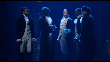 Daveed Diggs as Marquis de Lafayette; Okieriete Onaodowan as Hercules Mulligan; Lin-Manuel Miranda as Alexander Hamilton; Leslie Odom, Jr. as Aaron Burr; and Anthony Ramos as John Laurens